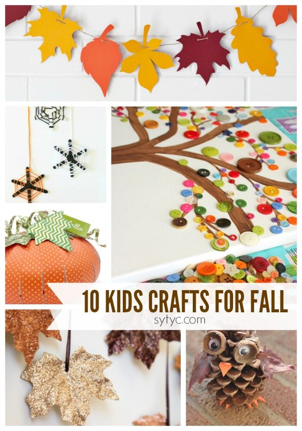 10 kids crafts for fall. There are some really great crafts shared in this post.