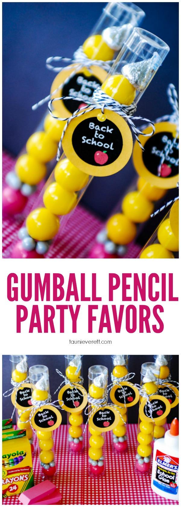 DIY bubble gum pencil party favors