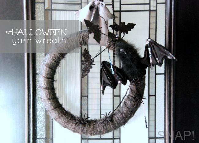 Yarn Halloween Bat Wreath