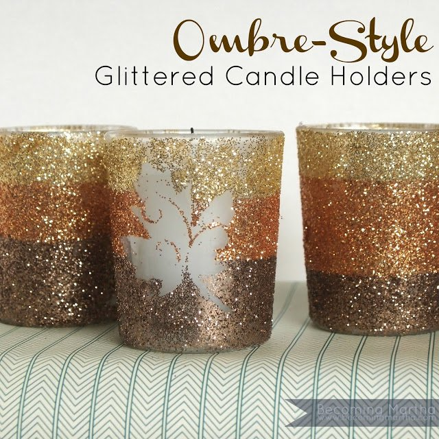 Ombre style glitter candle holders edit