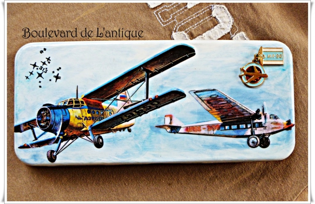 Antiqued Airplane Tin