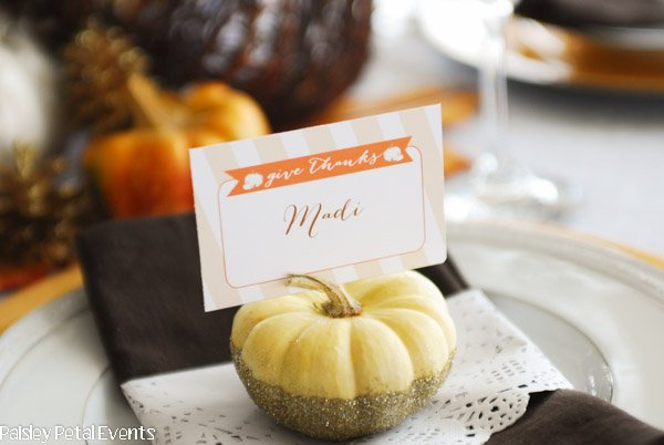 Thanksgiving Glitter Dipped Pumpkin Place Card Holders