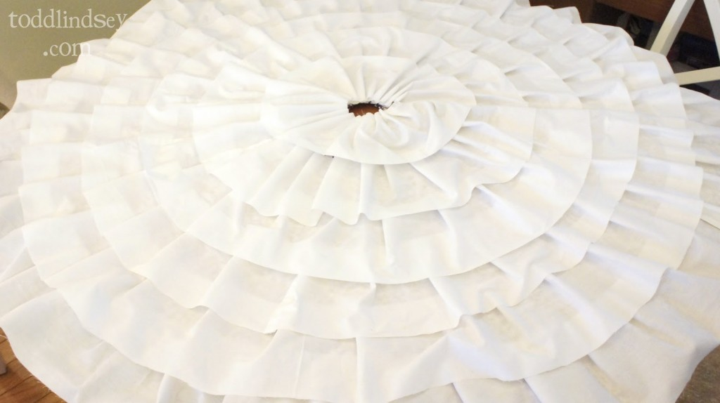Tree skirt from a bed sheet