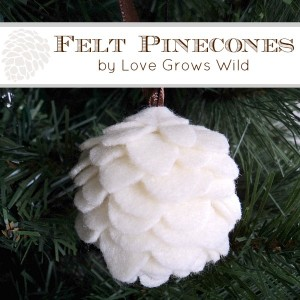 DIY felt pinecone christmas ornament via love grows wild