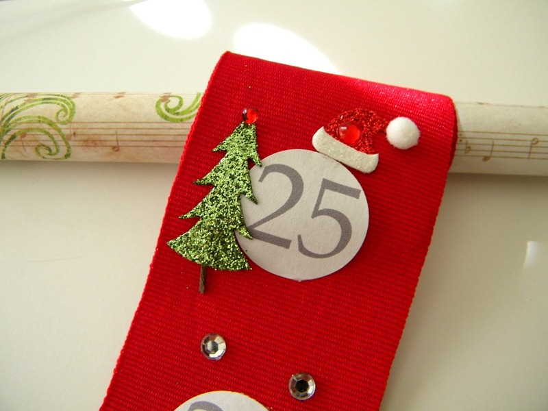 Ribbon Advent Calendar via Carolyn's Homework