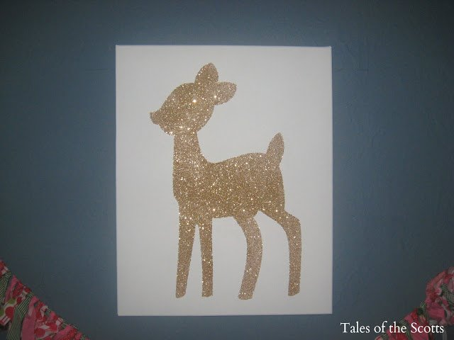 DIY Deer Glitter Canvas via Tales of the Scotts