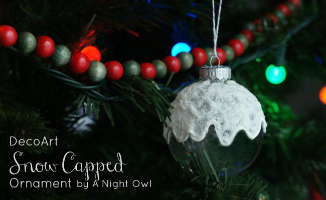 Snow capped christmas ornament via A Night Owl