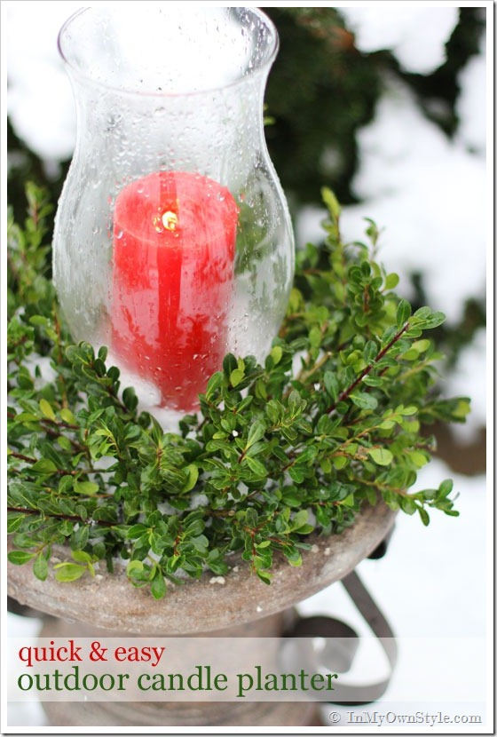 Outdoor Christmas Candle Planter via In My Own Style