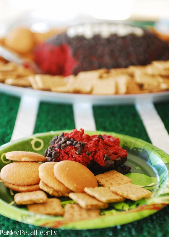 Serving of red velvet cheese ball