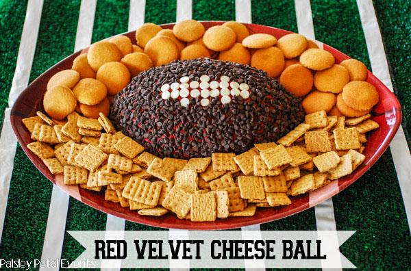 Superbowl appetizer - Football red velvet cheese ball
