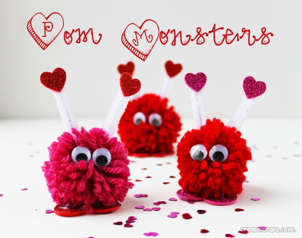Valentine's Day Pom Monsters