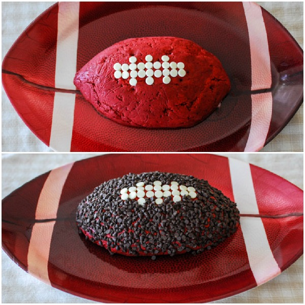 Football red velvet cheese ball with chips