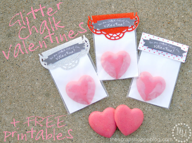 glitter chalk valentines via The Scrap Shoppe Blog