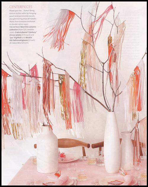 Tisue tassels for centerpieces
