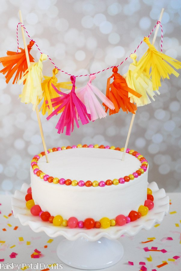Cake with mini tissue tassel garland