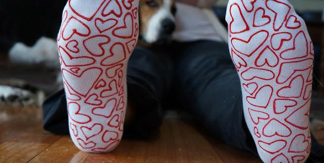 No Slip Valentines Day Socks via Hardly Housewives