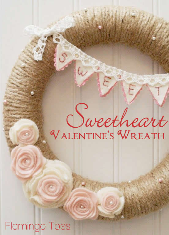 Sweetheart-Valentines-Wreath via Flamingo Toes