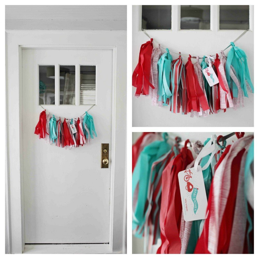 Party trend tissue tassels tauni co for Baby shower front door decoration ideas