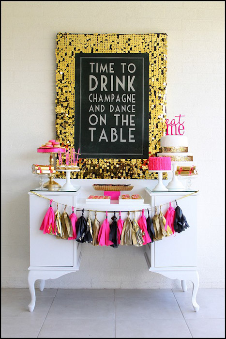 Tissue tassel dessert table decor