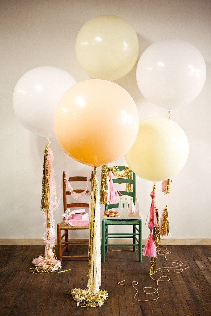 Tissue tassels on balloons