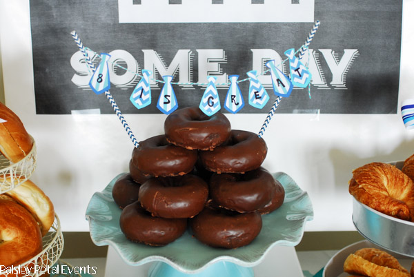 8 is great donut cake with mini necktie bunting