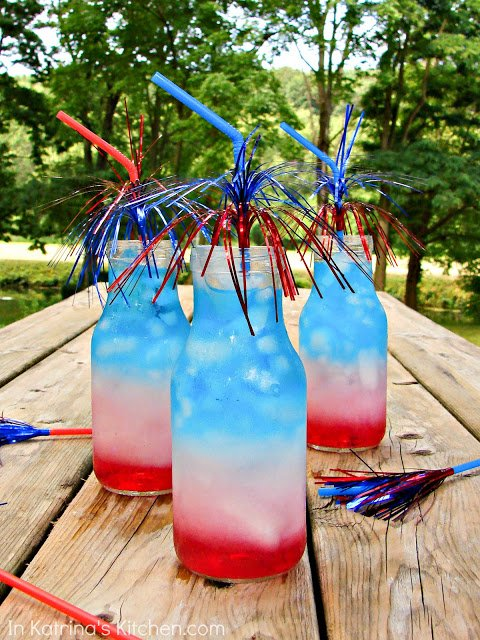 July 4th layered drinks