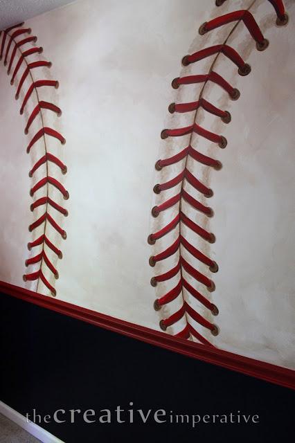 baseball stitching mural detail