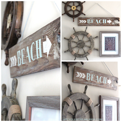 DIY Wood Beach Sign via Upcycled Treasures