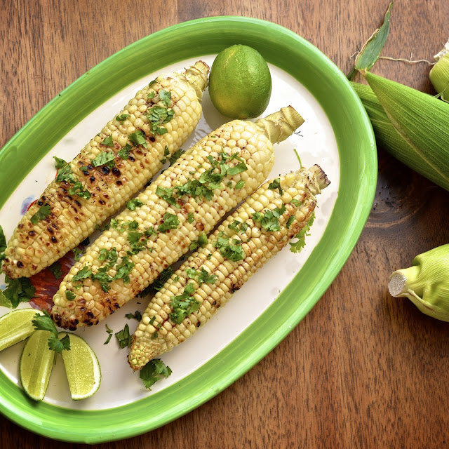 Grilled Corn with Ancho Chili Butter and Fresh Lime