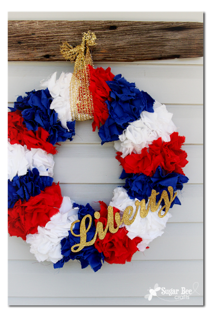 patriotic red white and blue wreath tutorial