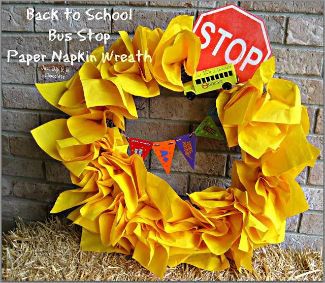 Back to school bus stop wreath via Just Dip it in Chocolate