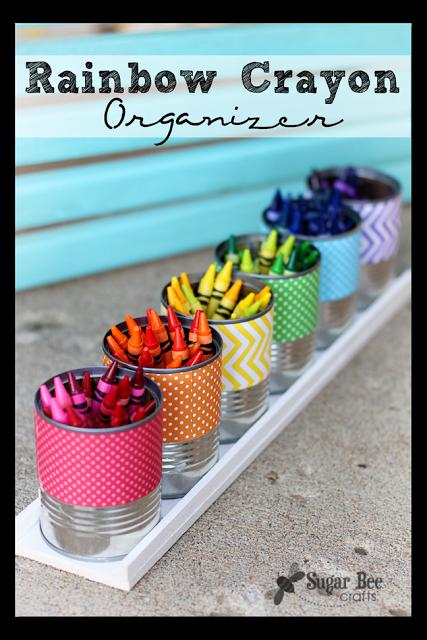 Back to school rainbow crayon organizer via sugar bee crafts