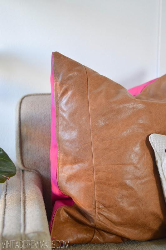 DIY Leather Pillow via Vintage Revivals