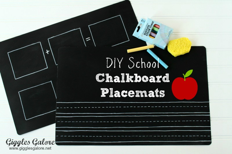 Back to school chalkboard placemats via Giggles Galore