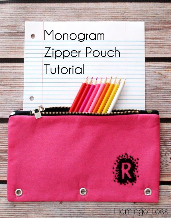 monogram zipper pouch via Flamingo Toes