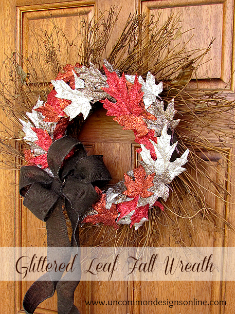 glitter fall leaves wreath