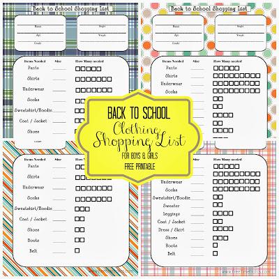 Back to school shopping list via Free Time Frolics