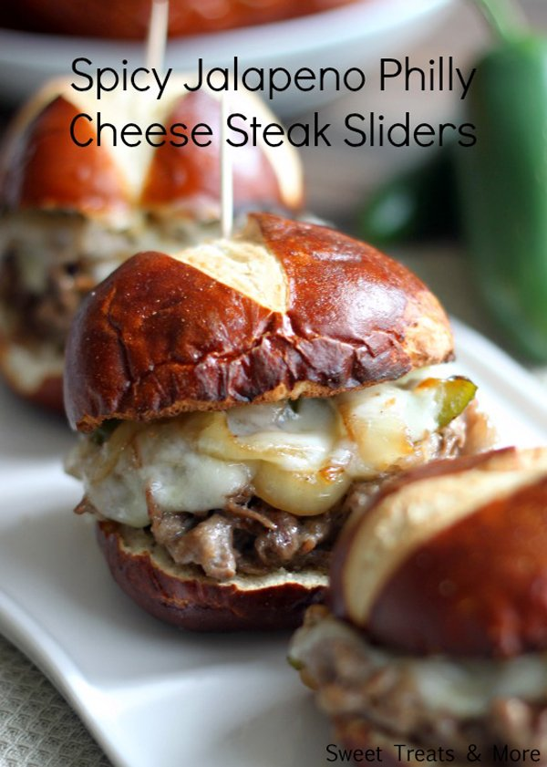 spicy jalapeno cheese steak sliders