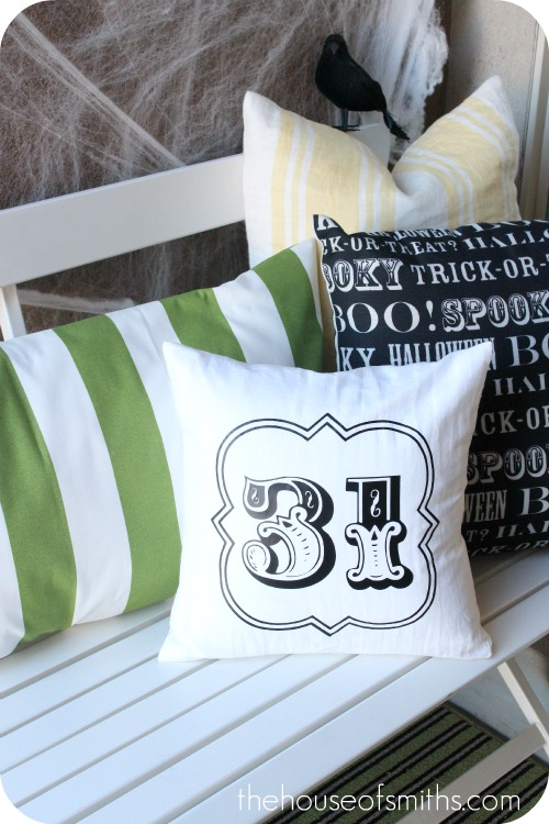 Front porch Halloween pillows