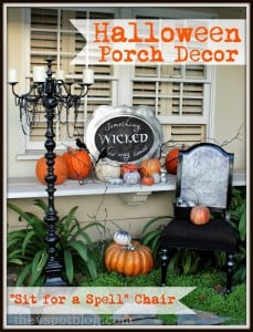 Halloween Porch Decor and a Sit For A Spell Chair