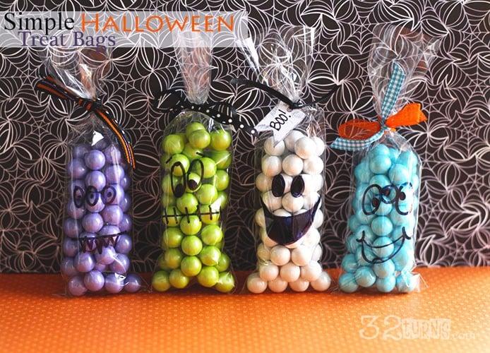 Simple Halloween Monster Treat Bags via 32 Turns
