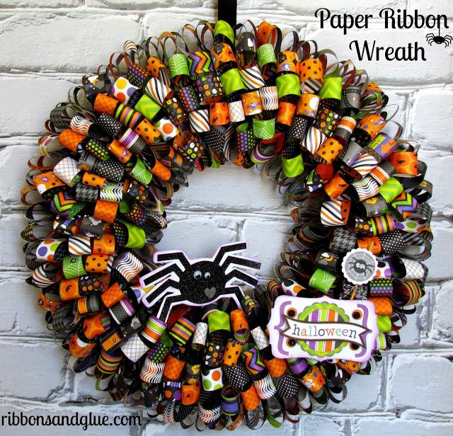 Paper Ribbon Wreath via Ribbons and Glue