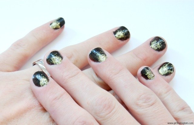 Black and Gold Glitter Burst Nail Art