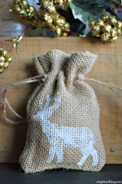 Holiday Stenciled Burlap Bags