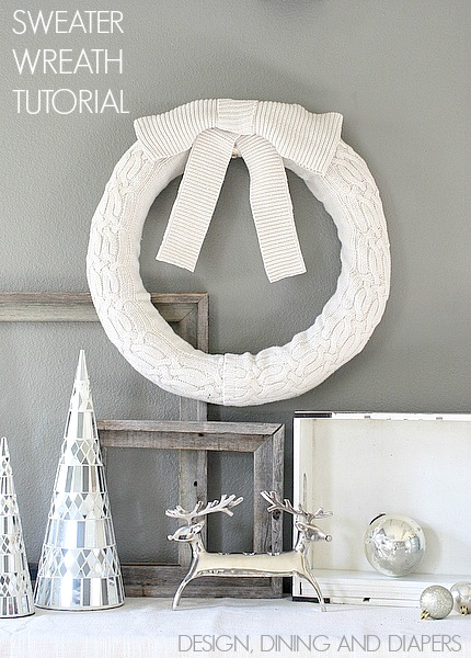 Upcycled Sweater Wreath via Design Dining and Diapers