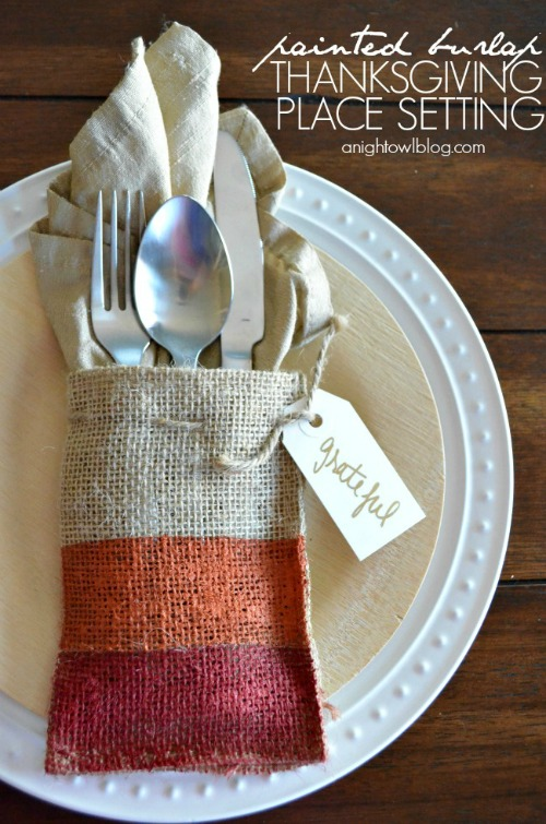 Painted Burlap Thanksgiving Place Setting at A Night Owl