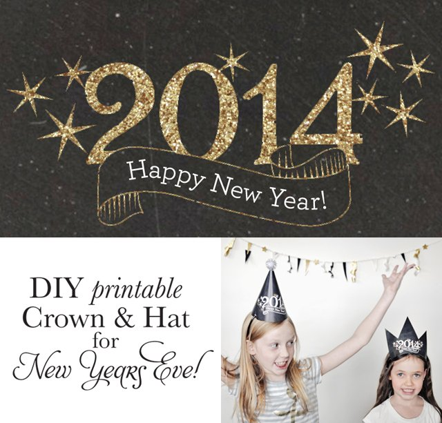 2014 DIY New Years Hat and Crown Printable