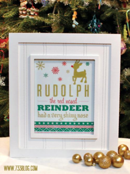 Rudolph Printable via 733 Blog