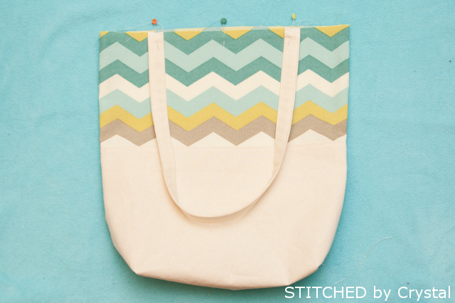 Final steps for making a chevron tote