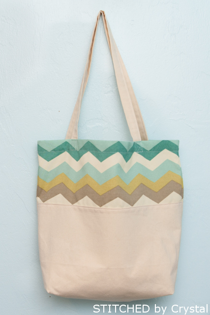 Cute chevron color block tote - make one yourself!